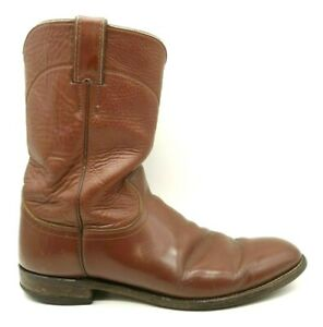 Justin Brown Leather Cowboy Western Roper Boots Shoes Men's 9.5 B