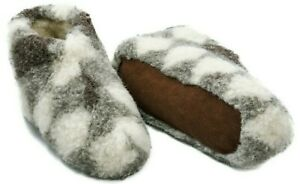 MEN 100% GRAY WHITE SHEEP WOOL BOOTS HOUSE SLIPPERS  SHEEPSKIN SUEDE SOLE