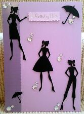 Luxury Handmade Personalised Large A4 BIRTHDAY CARD 50s 60s Glamour Girls Town