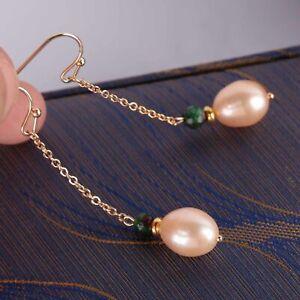 Natural pink baroque pearl Emerald bead Earring 18k Ear Drop Dangle Accessories