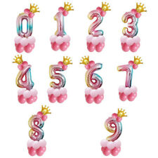 """32"""" Rainbow Crown Number 0-9 Foil Balloon Celebration Birthday Party Decorations"""