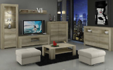 Living Room Furniture Set Country Grey Wood Effect Display Cabinet TV Unit LED