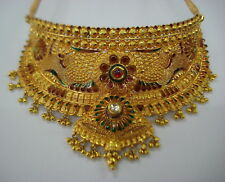 traditional kundan meena jewelry 22kt gold necklace choker necklace