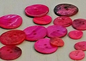 Cerise Pink Mother of Pearl 2 Hole Buttons - 11mm, 15mm, 18mm, 20mm, 23mm, 34mm