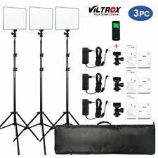 3 Packs VILTROX VL-200 Dimmable Bi-color LED Video Light Panel + Stand + Remote