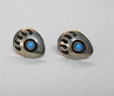 Southwestern Sterling ? Shadowbox Bear Paw W/Turquoise Cab Earrings Unmarked *