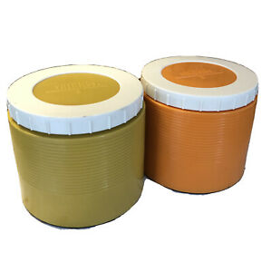 2 VTG THERMOS King-Seeley MODEL #1155 Insulated JAR 8oz  Orange/White  Mustard