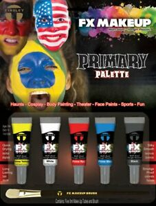 5 Piece Tinsley Transfers FX Face Paint Makeup Set Theater Primary Color Set