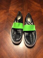 Mens Black And Green Puma Slip Ons Leather Rubber Size 11.5