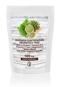 Moringa Leaf Powder Veg HPMC Organic 500mg x 500 Capsules Pills