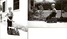 1940s Young Boy Playing with Keystone Sit 'N Ride Steam Roller Truck Photos