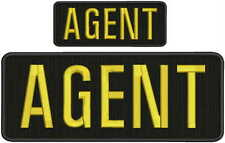 AGENT embroidery patch 4X10 and 2x5 hook ON BACK black yellow