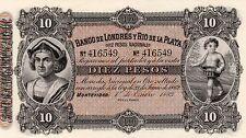BANCO DE LONDRES Y RIO DE LA PLATA 10 PESOS 1883 - RARA