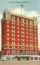 Elizabeth New Jersey~Red Brick Winfield Scott Hotel~1940s Linen Postcard