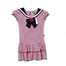 Dollie & Me Girls Sailor Dress 7 Pink White Striped Tiered Ruffles Short Sleeve