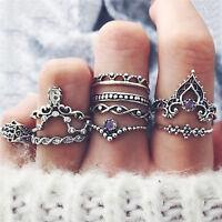 10 x bohemio Vintage anillo conjunto encanto hueco geométrica FatSC