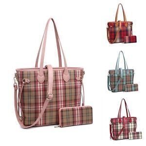 Woman Textile Tartan Medium Tote Shoulder Handbag with Purse - A set of Two UK