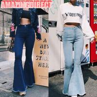 Women Flare Long Jeans Bell Bottom Stretch Pant Skinny High Waist Denim Trousers