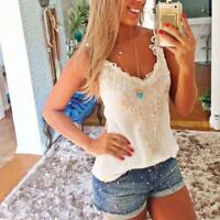Fashion Summer Women Lace Vest Top Tank Casual Blouse Tops Sleeveless T-Shirt