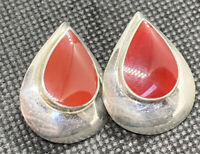 Vintage Sterling Silver 925 & Carnelian Teardrop Post Pierced Earrings