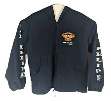 Harley Davidson Light Hooded Jacket San Felipe Mexico Navy Blue Sz 42 ~ XL Flaws
