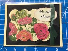 Get Well Card Colorful With Flowers Glittered Bow Ha;dmade