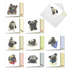 10 Assorted All Occasion Blank Note Cards - Snuggle Pugs Amq5648Ocb-B1x10