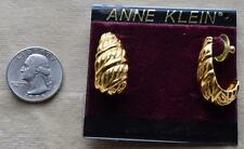New Original Card Old Stock ANNE KLEIN Goldtone Polish Textured Pierced Earrings
