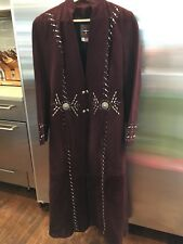 Women's RENEGADE SPIRIT Merlot Full Length Suede Western coat size Small