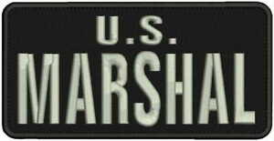 U.S. MARSHAL EMBROIDERY PATCH 4X8 HOOK ON BACK BLK//SILVER