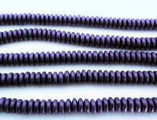 50 6mm Czech Glass Rondelle Beads: Metallic Suede - Purple