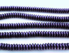 50 6mm Czech Glass Rondelle Beads: Metallic Suede - Purple