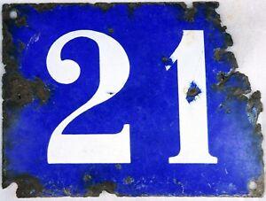 Large old blue French house number 21 door gate plate plaque enamel steel sign