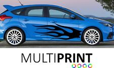 Custom Flames Racing Car Body Stickers Side Stripes Vinyl Graphic Decals CUS4