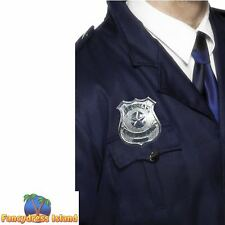Metal Police Badge Silver Cop Sheriff  Prop Mens Womens Fancy Dress Accessory