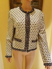 ST. JOHN  COLLECTION BY MARIE GRAY  KNIT OFF WHITE TEXTURED.EMB SUIT JACKET,S10