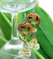 SALE 18mm Round Pink Cloisonne & 6-7mm White Natural Pearl Dangle earring-ear526