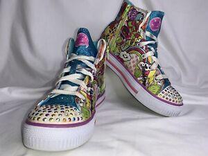 Skechers Twinkle Toes Shuffles Trendy Talk Light Up Shoes Girls Size 3 SEE DESCR
