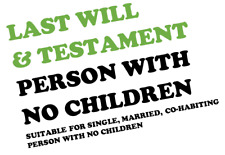 LAST WILL & TESTAMENT SUITABLE FOR PERSON WITH NO CHILDREN ENGLAND WALES EMAIL