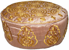 "26 X 10"" Round Embroidered Pouf Pouffe Ottoman Cover Floor Seating Moroccan"