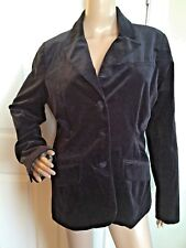 Gently Worn IZOD Black Velvet Double-Breasted Button-Up Coat Size 14
