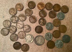 Lot of U.S. Coins w/1905 Barber Quarter/Wheats/Indian Heads & Buffalo Nickel