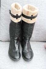New Khiro Black Pull on Leather Flat Calf height Boots Fake Fur lining size 5