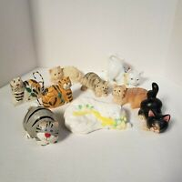 Lot of 9 Cat Figurines*Ceramic*Wood*Resin*COLLECTIBLE CATS*FELINE FANCY*VINTAGE