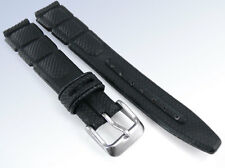 14mm Molded BLACK LEATHER Textured Embossed Watch Strap Band