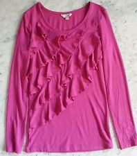 Free S&H !  77kids Girl's Fuchsia Pink Ruffle Front Round Neck Top Size L(12)