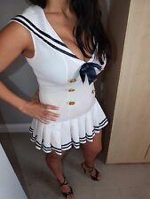 ann summers hello sailor white mini dress and hat fancy dress outfit  size 8