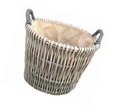 Small Round Willow Grey Log Storage Wicker Basket