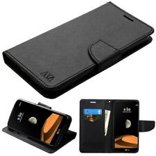 For LG X Venture X Calibur Hybrid Leather Flip Wallet Case Cover Magnet Clip TPU