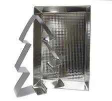 Teglia Alluminio Rettangolare e Stampo Albero di Natale 6.5 x 24 x 36 cm